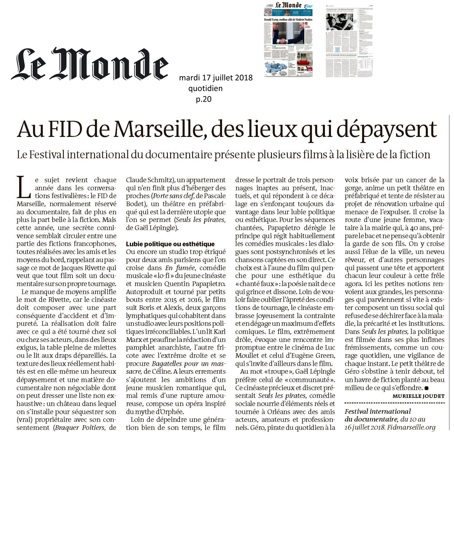 """FID 2018 : """"le Monde"""" parle de """"Seuls les Pirates"""" !"""